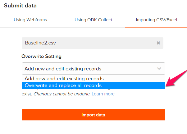 How to: Import data to a form using Import CSV – Ona Help Center